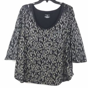 Lane Bryant Feather Print Half Sleeve Shirt Top